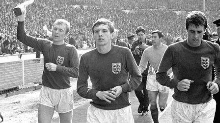 Former Norwich City player Martin Peters celebrates winning the World Cup with England in 1966 with