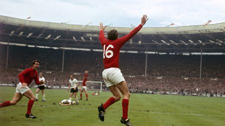 Martin Peters celebrates scoring England's second goal in the 1966 World Cup final against West Germ