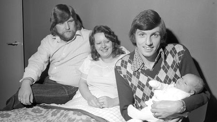 Norwich City legend Martin Peters, pictured with a family who named their child after him. Picture: