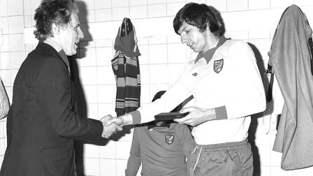 Martin Peters (right) pictured in dressing room at Stoke City on 24th April 1976. PIC: David Hine.