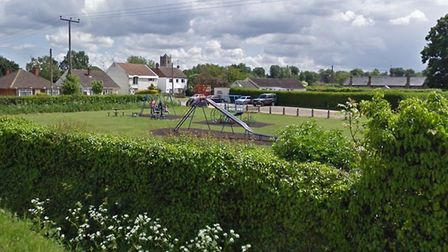 This children's playground on Orchard Road near King's Lynn was set on fire by arsonists. Picture: G