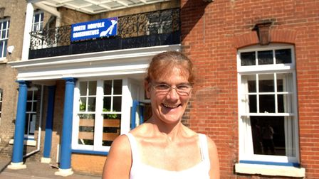Hilary Cox, nee Thompson, in front of the building in 2005. This was the year Mrs Thompson opened it
