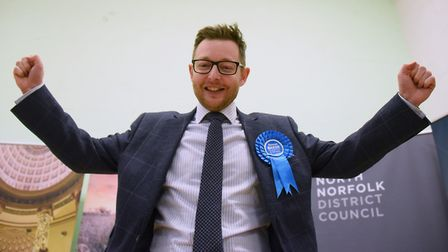 Conservative Duncan Baker celebrates becoming the new MP for North Norfolk with a majority of more t