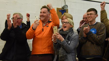 Duncan Baker's team celebrate after he was voted in as the new MP for North Norfolk. Picture: Denise