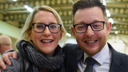 Conservative Duncan Baker celebrates with his wife Nina after becoming the new MP for North Norfolk.
