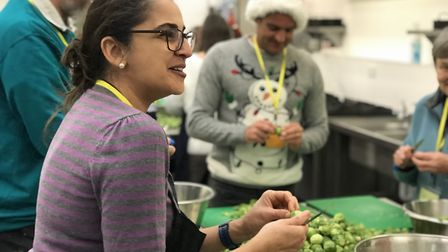 Feeding the five hundred - volunteers peel 100kg of sprouts in preparation for the Open Christmas di