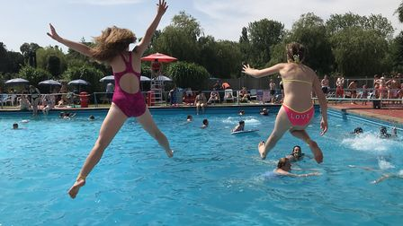 Youngsters at Beccles lido cooling off as the mercury continued to rise in the Waveney valley. Pictu
