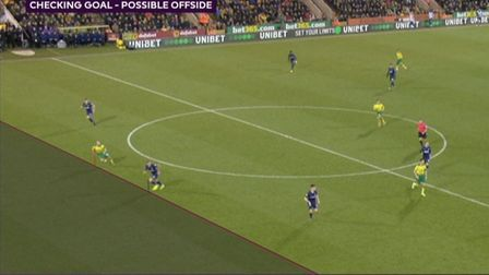 The hotly contentious VAR decison which ruled out Teemi Pukki's goal for offside. Picture: Sky Sport