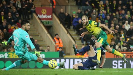 """Teemu Pukki of Norwich scores but the """"goal"""" is disallowed for offside by VAR during last Saturday's"""