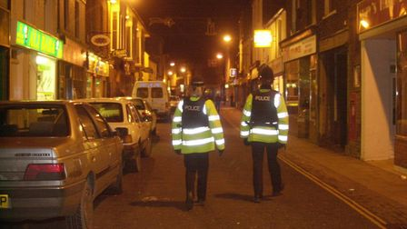 Officers patrol Norfolk Street, King's Lynn, after midnight. Picture: Su Holliday