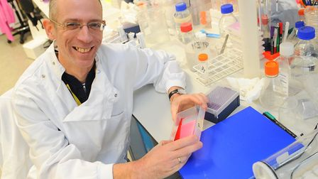 Dr Stephen Robinson working in his lab at the UEA, who has just been awarded £100,000 to fund his re