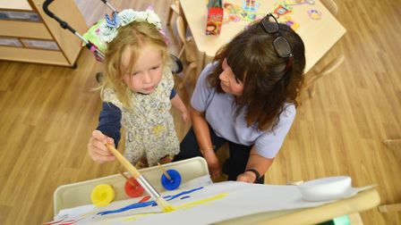 Once Upon a Time Nursery School at White House Farm, Sprowston. Nursery manager Debbie Kennedy with