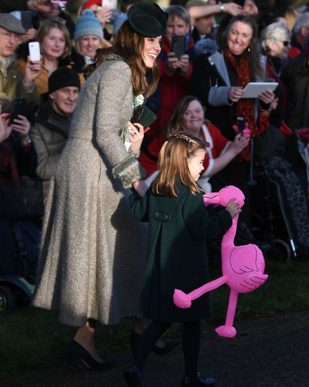 The Duchess of Cambridge and Princess Charlotte meet well wishers after attending the Christmas Day