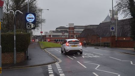 The bus gate where Grove Road meets Brazen Gate near Sainsbury's in Norwich. Picture: Brittany Woodm