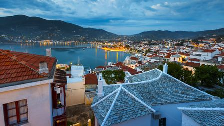 Morning view of the harbour of Skopelos town, where the musical Mamma Mia was filmed, from the cast