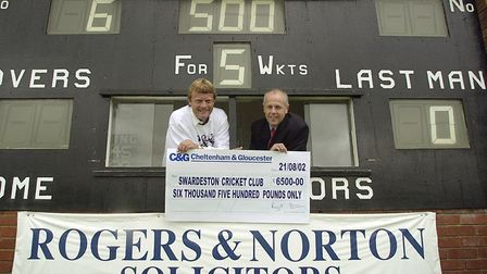 Peter Thomas, left, and Graham Knights mark the Roger & Nortons' fifth year of sponsoring Swardeston