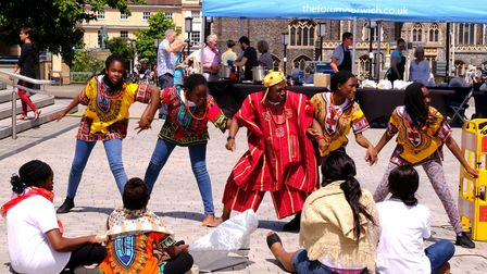 Singers and dancers from The Redeemed Christian Church of God performing at Celebrate Norfolk. Pictu