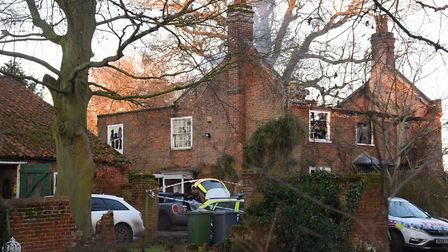 A home at The Moor in Reepham was completely gutted by a devastating fire. Picture: DENISE BRADLEY