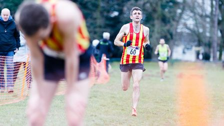 CoNAC's Gary Crush on his way to third place at the Norfolk Cross Country Championships. Picture: Ma
