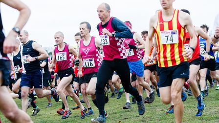 Action from the start of the senior race at the Norfolk Cross Country Championships. Picture: Mark H