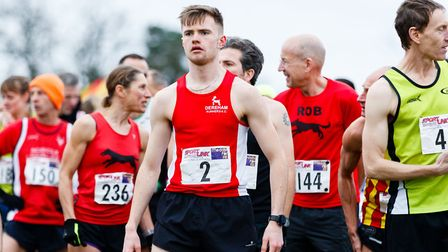Callum Bowen Jones before the start of the Norfolk Cross Country Championships U20 race. Picture: Ma