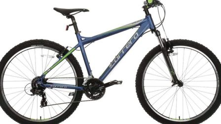 A blue and green Carrera Valour was one of the two bikes stolen by thieves from near a community cen