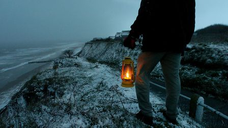 Mundesley, Sunday piece on the legend of Black Shuck.Alleged to be abroad on North Norfolk's beaches