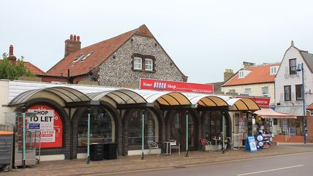 Whistlestop, Sheringham. The main part of the building on the left is closed, with business owner Cl