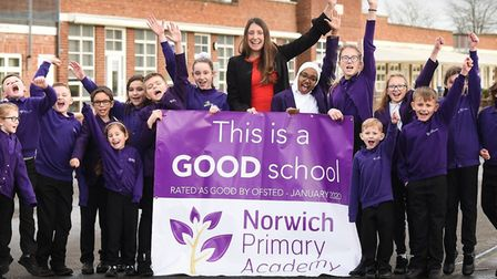 Norwich Primary Academy headteacher Rebecca Handley Kirk with pupils following recent Ofsted inspect