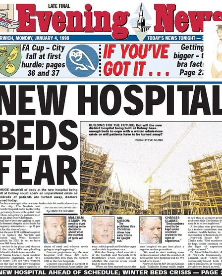 The front page of the Norwich Evening News in January 1999 warning that the NNUH was not big enough.