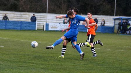 South Normanton's Richard Hanslow should have done better he drove his shot straight at keeper Ollie