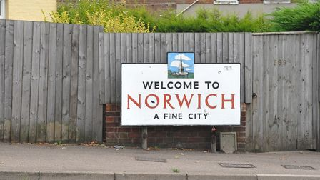 The Welcome to Norwich A Fine City sign in Sprowston.PHOTO BY SIMON FINLAY[