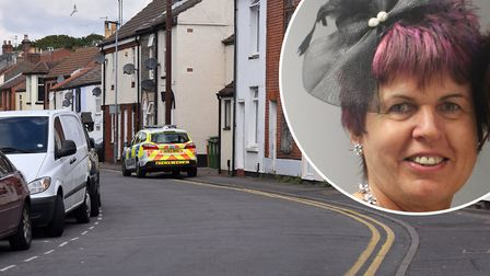 Linda Rainey (inset) died after falling down the stairs in South Market Road, Great Yarmouth P