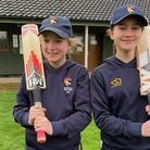 Hope Buxton and Niamh Rushton, both 11, young players at Great Melton CC. Picture: Great Melton Cric