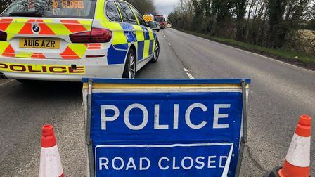 The B1172 was closed between Wymondham and Besthorpe after a crash where two cars overturned. Pictur