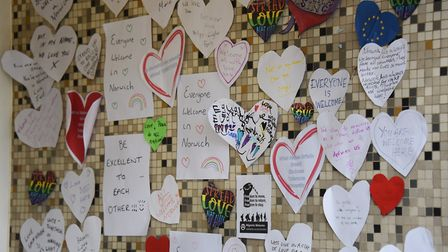 Winchester Tower's entrance covered in heart-shaped messages of support. Picture: DENISE BRADLEY