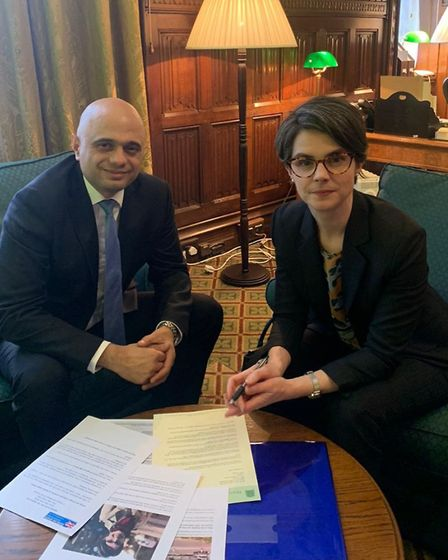 Norwich North MP Chloe Smith meeting Chancellor Sajid Javid on Wednesday February 5 2020 to discuss