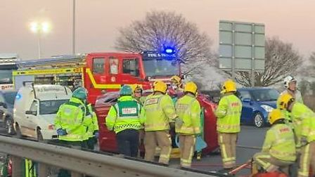 Emergency services at the scene of a crash on the NDR in Postwick, close to the junction with the A4