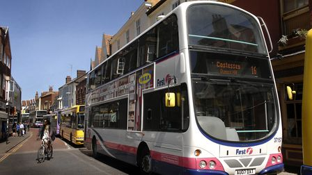 Eight buses backed up behind the accident on the junction of Fishergate and Wensum Street, Norwich b