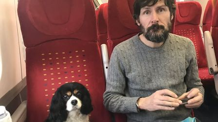 Jamie Klingler, partner Jonathan Lowe and dog McNulty were stuck going back and forth to Norwich as