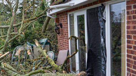 A tree falls onto a house in Postwick as Storm Ciara hits Norfolk. Picture: Lee Blanchflower - Blanc