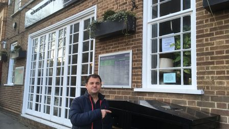 Paolo Daurj, who is unhappy a bin has been moved alongside his restaurant. Picture: David Hannant
