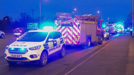Two people had to be rescued from a crash on the A47 Hardwick roundabout. Picture: Chris Bishop