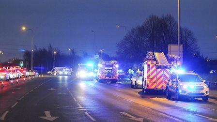 Emergency services were called to the A47 Hardwick roundabout on Thursday following a collision betw