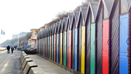 Beach huts along Lowestoft promenade. A beach hut near to the Claremont Pier was damaged. Picture: M