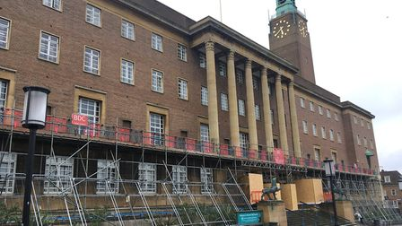 Scaffolding has been put up on Norwich's City Hall so the railings can be repainted. Pic: Archant.