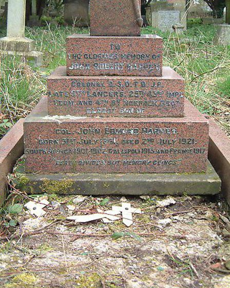The gravestone of hero Lieutenant-Colonel John Robert Harvey, a former Norwich mayor, and who served