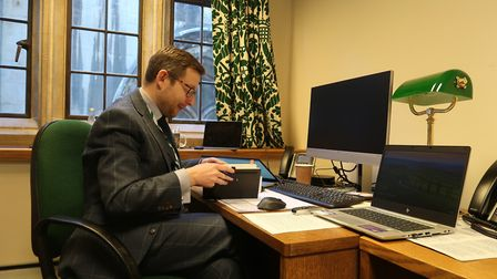 North Norfolk's new MP Duncan Baker, at his new office in the Palace of Westminster. Picture: Stuart