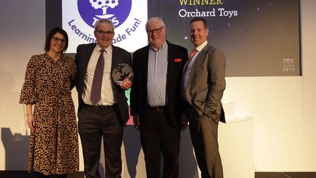 A winning team; Orchard Toys celebrates success at the London Toy Industry Awards. Pictured left to