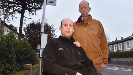 Jack Gray has had his bus route axed, he now has to rely on his dad Richard to get to work. Byline: